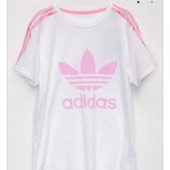 NEW white Pink Adidas Top fa92f96c779a